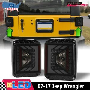 For 07 17 Jeep Wrangler Jk Led Tail Lights Rear Lamps Replacement Black Smoke