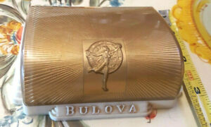 Old Art Deco Plastic Bulova Fifth Ave Ny Gold Cream Red Empty Jewelry Watch Box