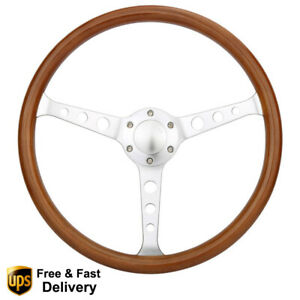 New 380mm 2 Deep Dish Tuning Wood Classic Steering Wheel With Horn Button 15