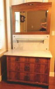 Burl Ives Estate Antique Chest Drawers Buffet Dresser Marble Top Mirror Inlay