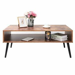 Iwell Mid Century Coffee Table With Storage Shelf For Living Room Mid Brown