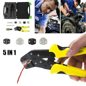Insulated Cable Connectors Terminal Crimping Wire Crimper Plier W 4 Dies Tool