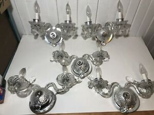5 Vintage Leaded Crystal Twin Candle Electric Cut Glass Wall Sconces Deco French