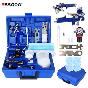 Essgoo Hvlp Gravity Feed Air Spray Gun 600cc Cup 0 8 1 4 Tips W Air Regulator