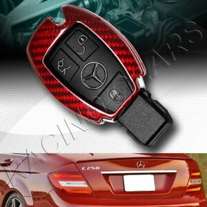 Real Red Carbon Remote Key Shell Cover Case Fit Mercedes benz E320 350 500 Amg