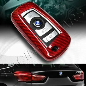 Real Red Carbon Fiber Remote Key Shell Cover Case Fit Bmw 1 2 3 4 5 6 7 Series