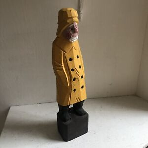 Hand Carved Wooden Captain Fisherman Sailor 12 Tall