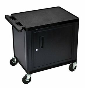 Luxr lp26ceb luxor Lp26ce b 2 shelf A v Cart With Cabinet 26 Height Black