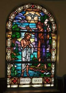 Beautiful Vintage Stained Glass Church Window Of St John The Baptist Jj2