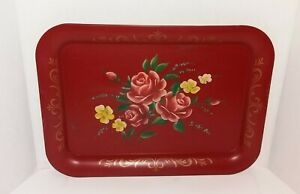 Vtg Hand Painted Flowers Tole Ware Red Floral Metal Serving Tray Country Decor