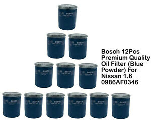 Bosch 12pcs Premium Quality Oil Filter Blue Powder For Nissan 1 6 0986af0346