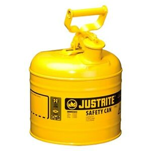 Justrite 7120200 2 Gal Yellow Type I Steel Diesel Liquids Safety Can