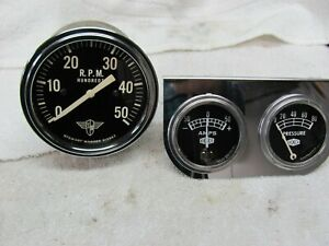 Stewart Warner Wings 5k Tachometer W dixco Gauges And Panel Curved Glass 3 3 8