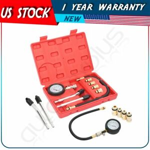 Engine Compression Cylinder Pressure Tester Gauge Multi Function Tool Set 8pcs