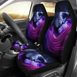 Set Of 2 Skull Skull Kiss Girl Flower Car Seat Cover Sugar Skulls Skulls