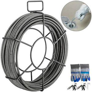 Vevor Drain Cable Sewer Cable 50ft 3 8in Drain Cleaner Cable Auger Snake Pipe