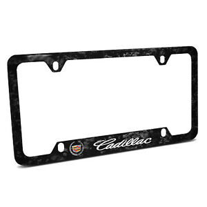 Cadillac Logo Real Black Forged Carbon Fiber 50 States License Plate Frame