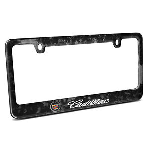 Cadillac Logo Real Black Forged Carbon Fiber License Plate Frame