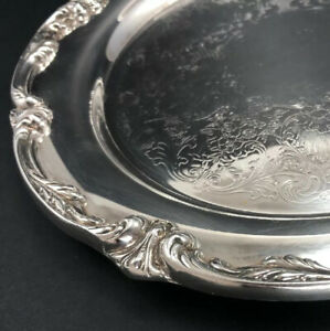 Vintage Wm Rogers Son Silverplated 11 25 Heavy Serving Tray Round Platter