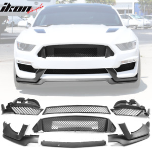 Fits 15 17 Ford Mustang Gt350 Style Front Bumper Lip Grille Fog Light Cover
