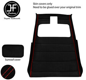 Red Stitch Sun Roof Headlining Luxe Suede Cover For Vw Golf Mk2 83 92 3 Door