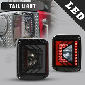 Fits 07 17 Jeep Wrangler Jk Tail Lights Led Rear Lamps 1 Pair Black smoke