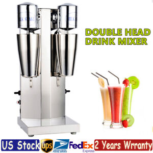 Commercial Milk Shake Machine Double Head Drink Mixer Stainless Steel 18000rmp