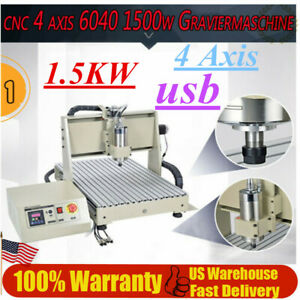 Usb 4 Axis Cnc Router Engraver 1 5kw 6040t Milling Carving Machine Wood Working