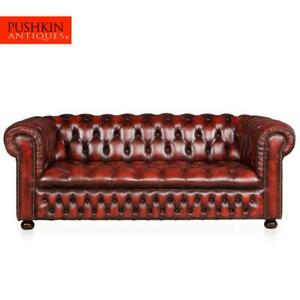 Superb 20thc Red Leather Chesterfield Sofa With Button Down Seat C 1970