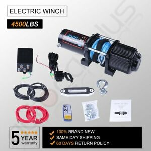 Utv Winch Atv Winch 4500lbs Electric Cable Winch Synthetic Rope 4wd Off Road 12v