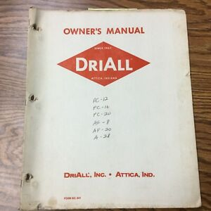 Driall Pc 12 16 20 Af 8 20 A 28 Grain Dryer Operation Maintenance Manual Guide