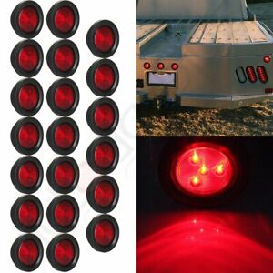 20pcs For Truck Trailer 2 5 Inch Round 4led Side Marker Tail Light Kit Red