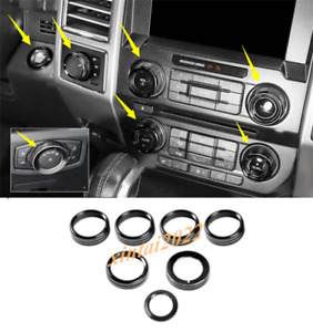 Black Air Condition Switch Knob Ring Cover Trim For Ford F150 F 150 2017 2020