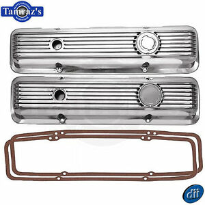 Sbc Lt1 Small Block Chevy Polished Aluminun Ribbed Valve Covers W Gaskets