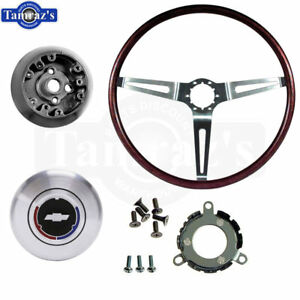 69 Camaro Rosewood 3 Spoke Steering Wheel Hub Contact Horn Cap Kit