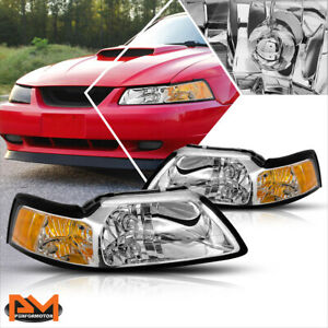 For 99 04 Ford Mustang Chrome Housing Headlight Amber Corner Signal Lamps Pair