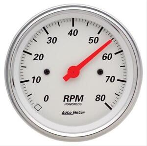 Autometer Arctic White Tachometer 0 8 000 3 3 8 Dia In dash White Face 1390