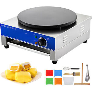 16 Electric Crepe Maker Pan Baking Pancake Frying Griddle Machine Commercial