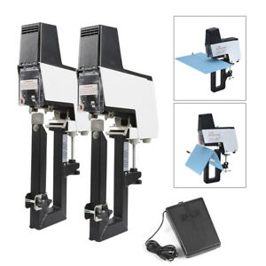 Electric Auto Saddle Stitching flat Binding Stapler Binder Dual Head 2 50 Sheets
