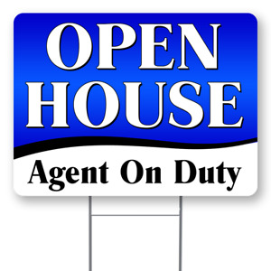 Open House Agent On Duty 18x24 Inch Sign With Display Options