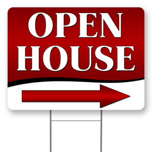 Open House arrow 18x24 Inch Sign With Display Options