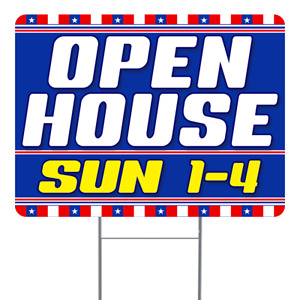 Open House Sun 1 4 18x24 Inch Sign With Display Options
