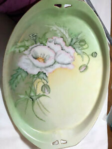 Antique Porcelain Double Handle Hand Painted Floral Platter By K Younger