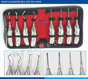 8 Pcs Dental Root Elevators Oral Surgery Extracting Luxating Apical