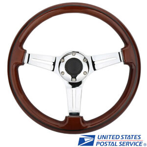 Universal 14 Inch 350mm Silver Spoke Grain Wooden Style Steering Wheel 6 Bolt