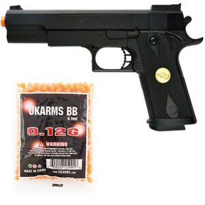 DOUBLE EAGLE FULL SIZE M1911 SPRING AIRSOFT PISTOL HAND GUN w 1000 6mm BB BBs $16.95