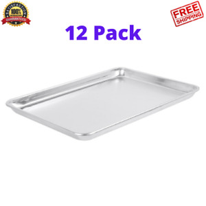 Half Size 13 X 18 Bun Sheet Baking Pan Wire Rim 12pack