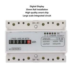 3 Phase 4 Wire Power Kwh Energy Meter Din Rail Mount 220 380v 20 80a