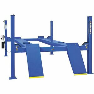 Forward Lift 4 post Truck Car Lift 14 000 Lb Capacity 182 1 2in Wheelbase Blue