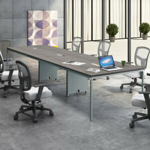 8ft 12ft Modern Conference Table With Metal Base Optional Power Data Modules